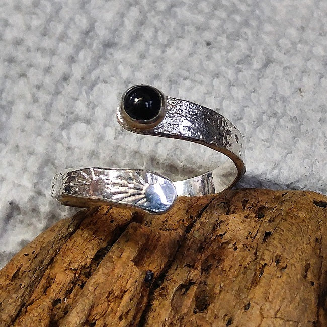 Sterling wrap ring with Onyx