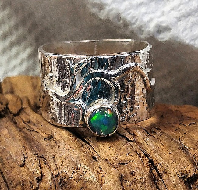 Wide sterling textured ring with branch element and Ethiopian Opal