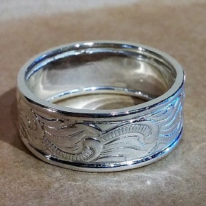 Patterned sterling band ring