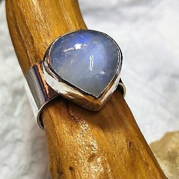 Rainbow Moonstone ring - sterling