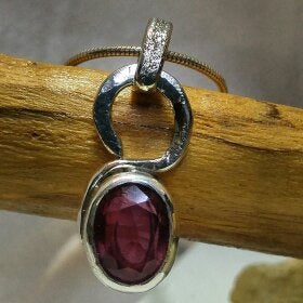 Sterling Pendant with faceted ruby