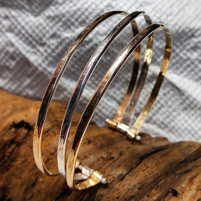 Pinned cuff bracelet - 3 strand Sterling and 14k goldfill