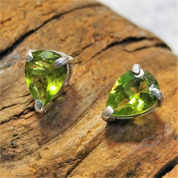 Faceted teardrop Peridot studs - sterling