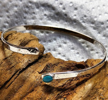 Asymmetric sterling cuff bracelet with Arizona Turquoise
