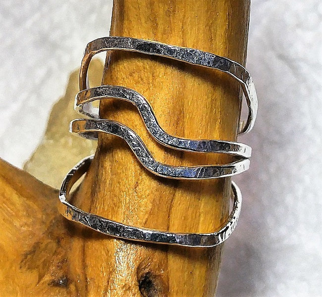 Hammered 4 strand sterling wire wrap ring