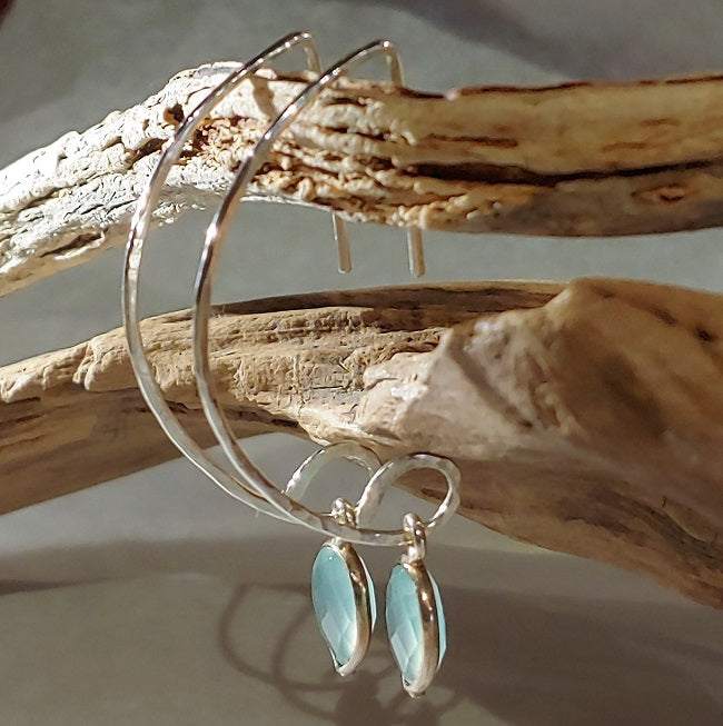 "Sterling ""D"" hoops with faceted Aqua Chalcedony"