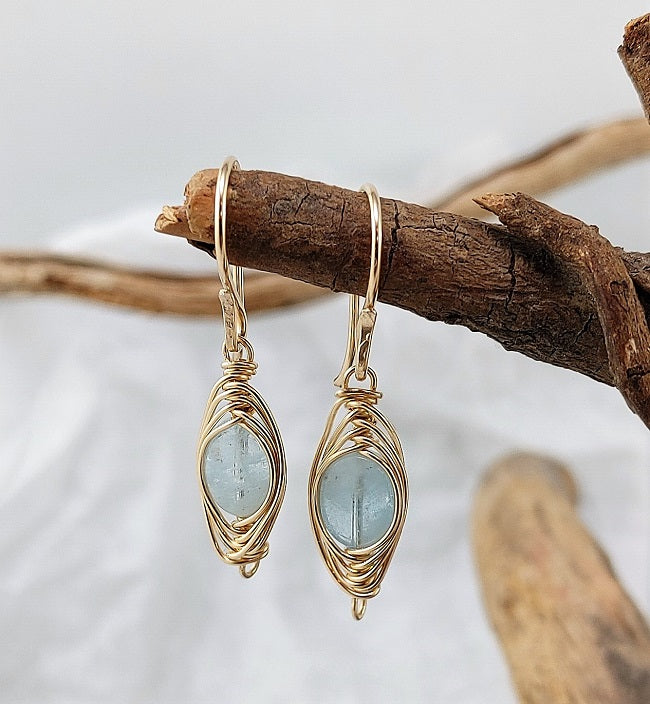 Aquamarine goldfill double herringbone wrap earrings