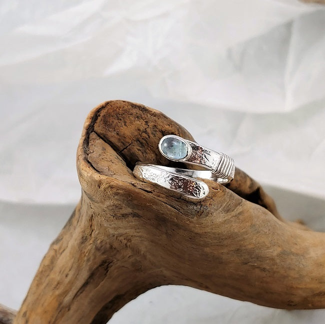Wrap ring - adjustable - Aquamarine
