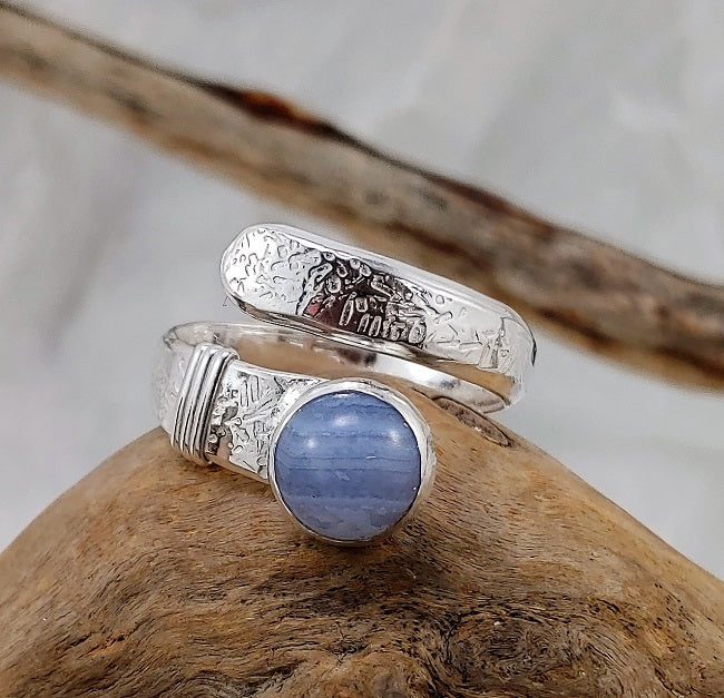Heavy hammered silver wrap ring - Blue Lace Agate