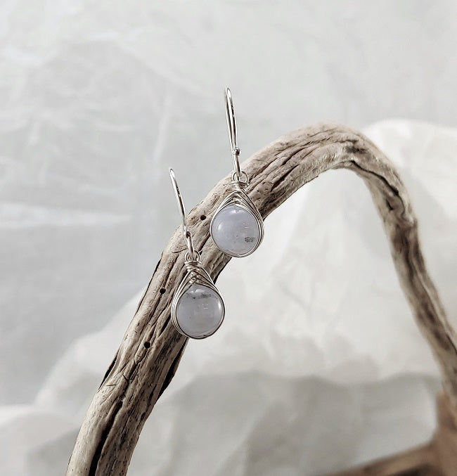 Blue Lace Agate Herringbone wrapped earrings