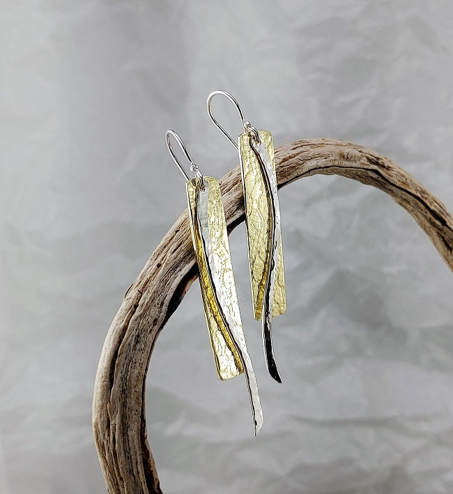 Brass/Sterling Silver roll print earrings - 60mm