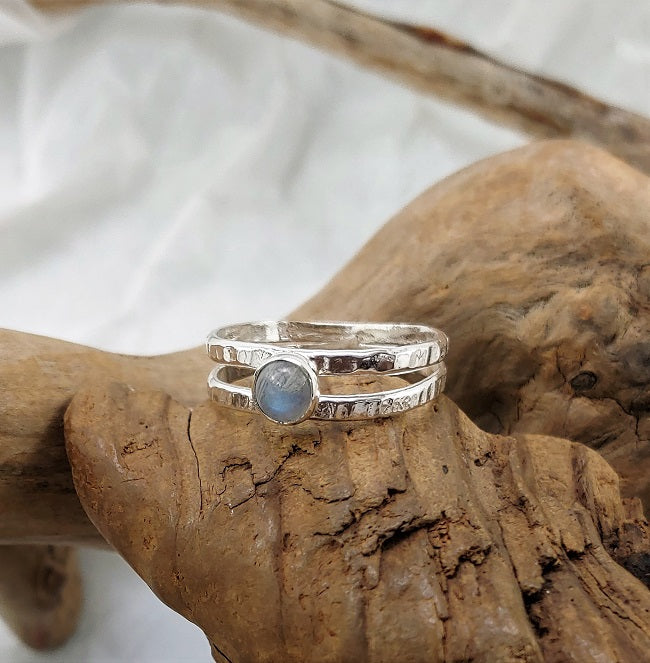 Double band ring - Rainbow Moonstone