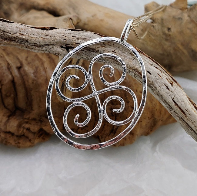 Sterling silver double spiral pendant