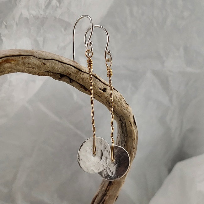Disc drop earrings - silver 14k goldfill - 2 inch