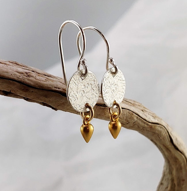 Hammered disc earrings with 24k vermeil dangle