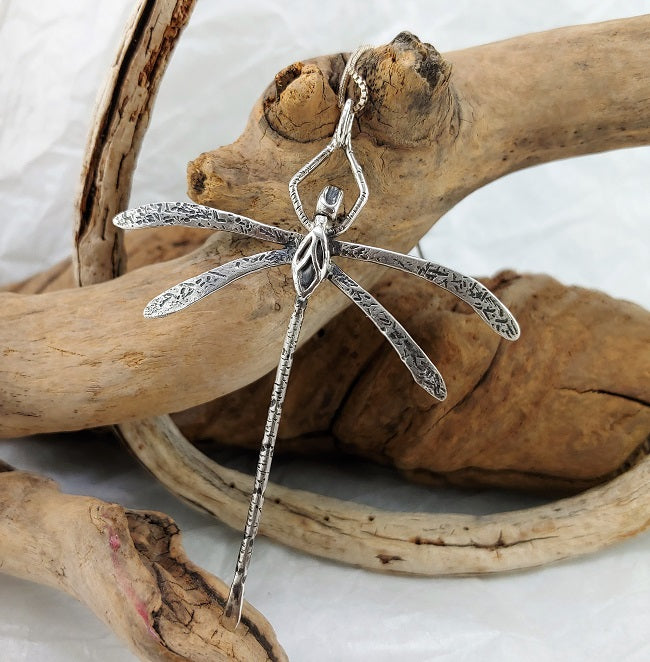 Dragonfly - Hand-forged sterling silver