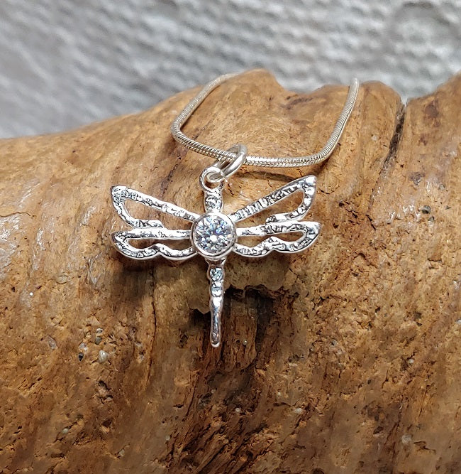 Dragonfly pendant with CZ