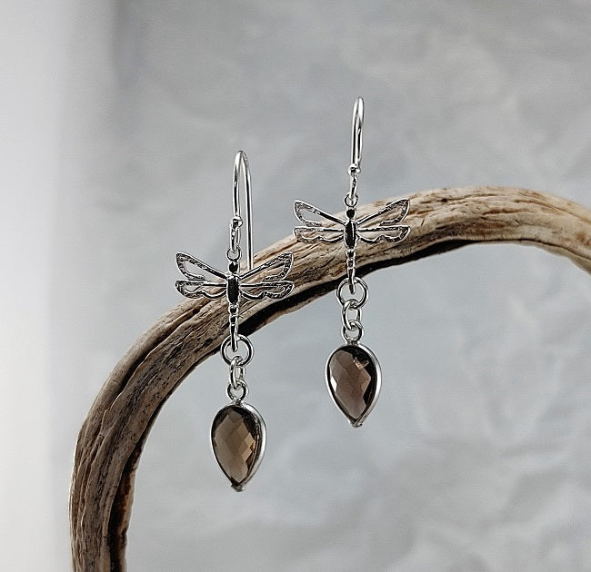 Dragonfly earrings - smoky quartz
