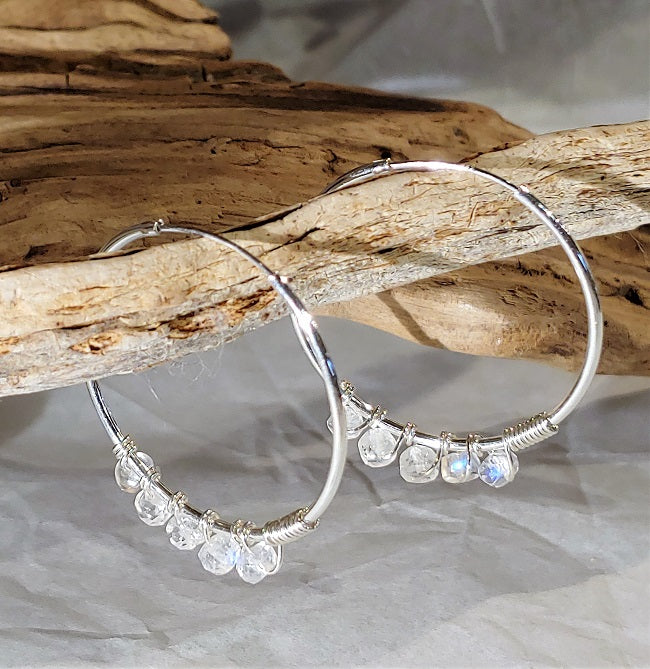 Silver endless hoops with wire wrapped Rainbow Moonstone