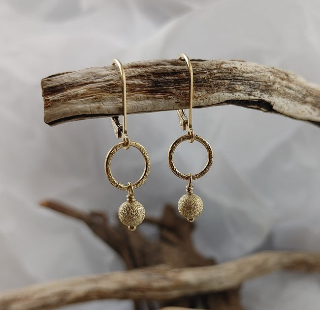 Stardust bead circle earrings - 14k goldfill