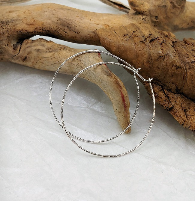 Hammered silver hoops - 2 inch