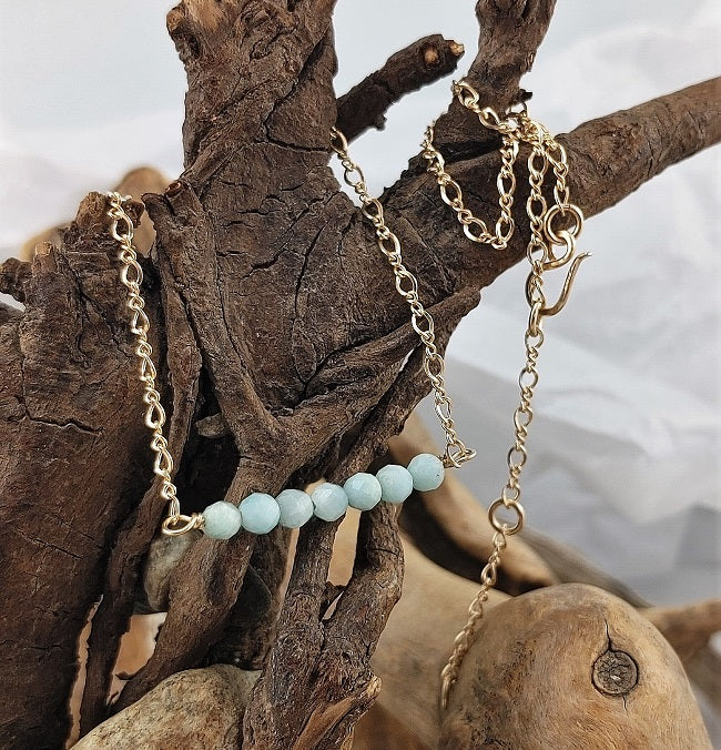 Larimar bar necklace - adjustable 14k goldfill