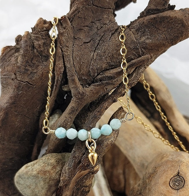 Larimar bar necklace with 24k vermeil drop - 14k goldfill chain