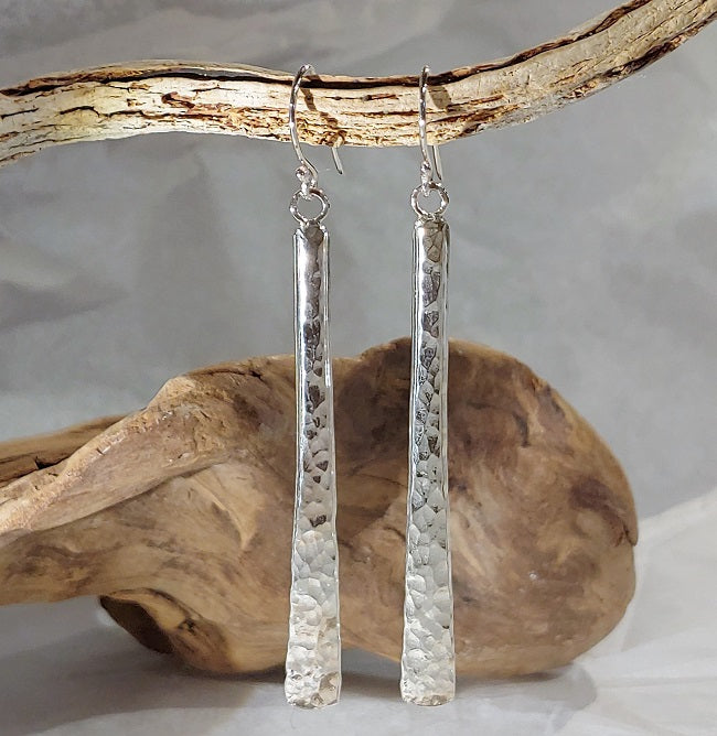 Long Hammered/Forged Stick Earrings