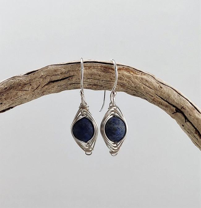 Herringbone wrapped matte Lapis Lazuli earrings