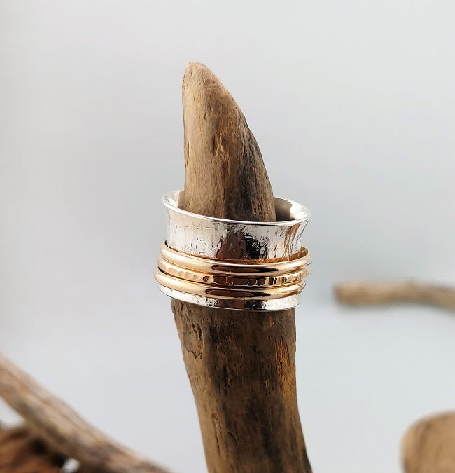 Meditation ring - sterling silver and 14k goldfill