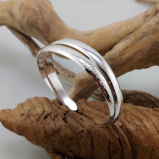 Nested double band silver cuff