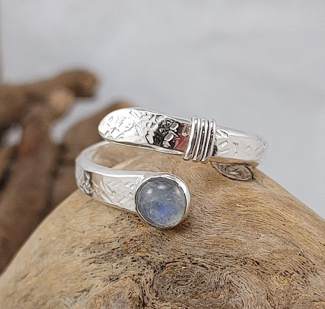 Rainbow Moonstone wrap ring - Adjustable