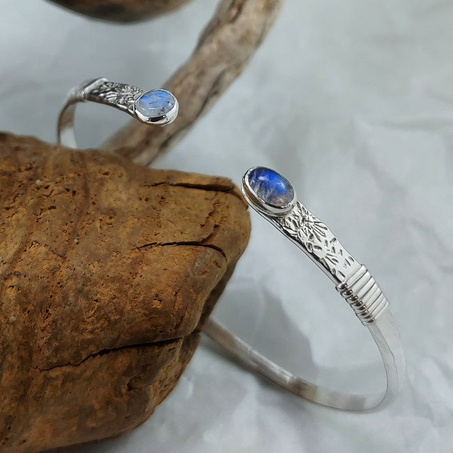 Silver cuff with Rainbow Moonstone - asymmetric