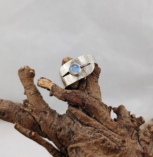 Rainbow Moonstone closed wrap ring