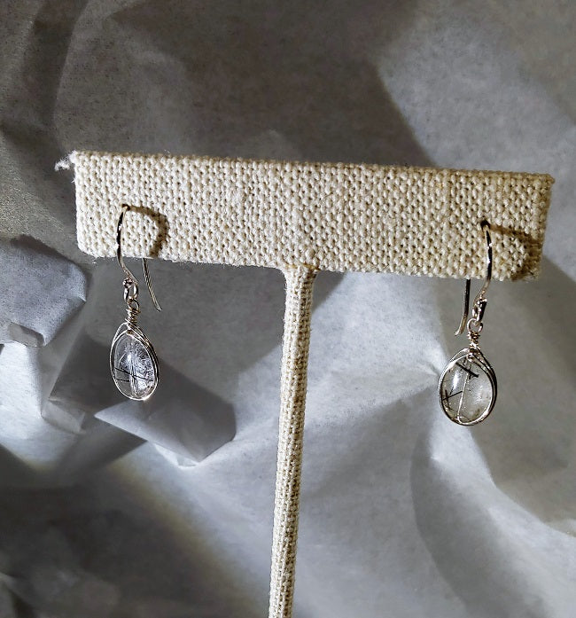 Rutilated quartz earrings herringbone wrap
