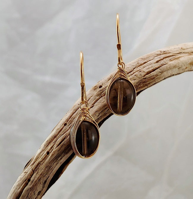 Smoky Quartz earrings - 14k GF Herringbone Wrapped