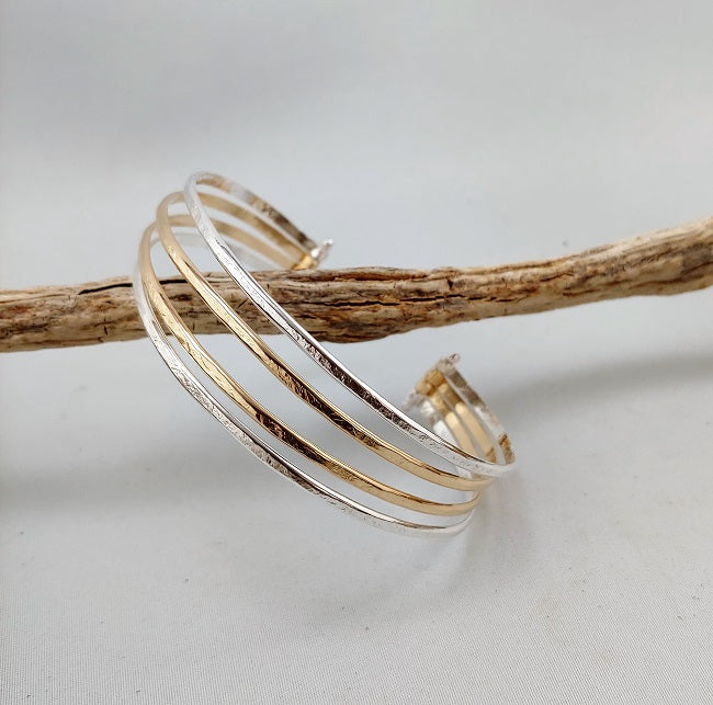 Adjustable 4-Strand pin bangle - silver and 14k goldfill