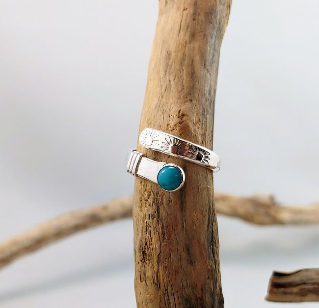 Adjustable silver wrap ring- Turquoise