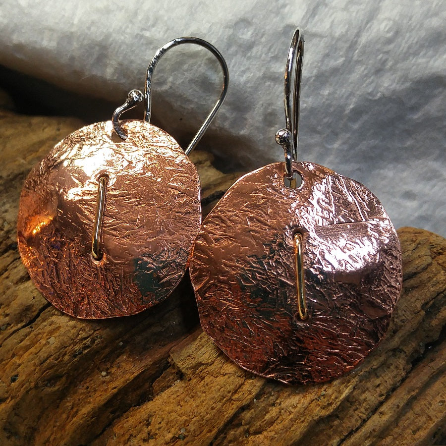 Hammered copper disc earrings with brass staple - sterling ear wires