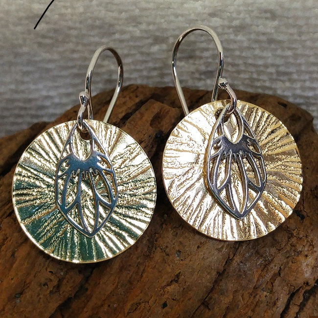 Disc earrings - hammered brass and sterling Amoracast findings