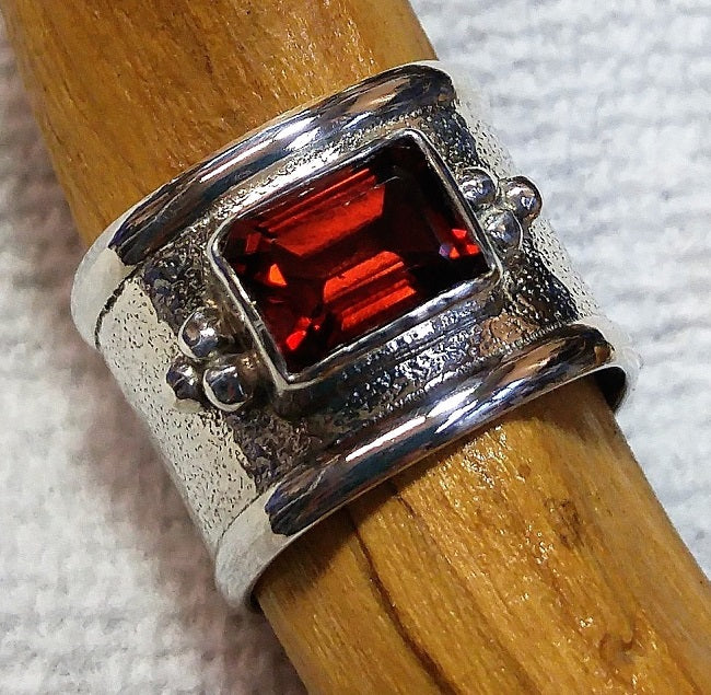 Wide sterling band ring with Vintage Garnet