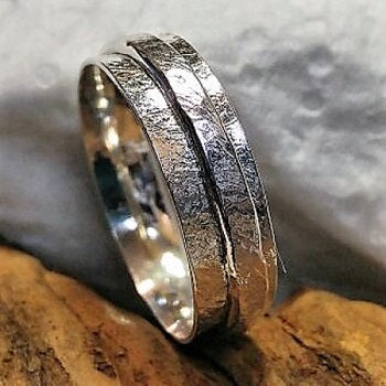 Sand textured meditation ring