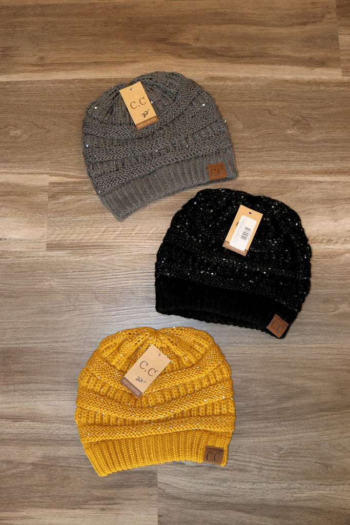 CC Knit Beanie with Sequin