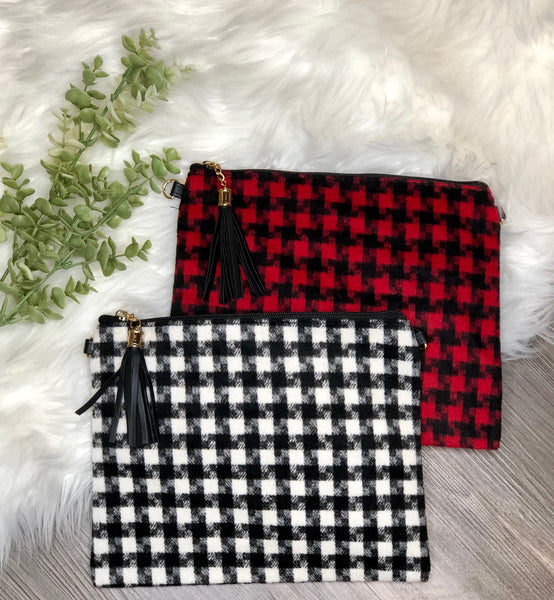 Sodo Buffalo Plaid Clutch
