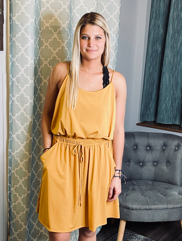 Sadie Spaghetti Strap Mustard Dress