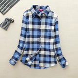 Blue Long-Sleeve Plaid Shirt - Cowgirl Vibes