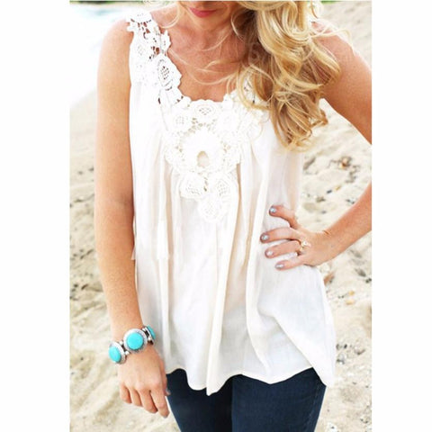 Country Girl Chiffon White Lace Blouse - Cowgirl Vibes