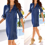Long Sleeve Lace Up Neck Chambray Dress - Cowgirl Vibes