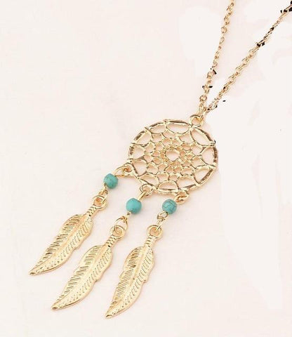 Vintage Dream-catcher Feather Pendant Necklace - Cowgirl Vibes