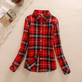 Red Long-Sleeve Plaid Shirt - Cowgirl Vibes
